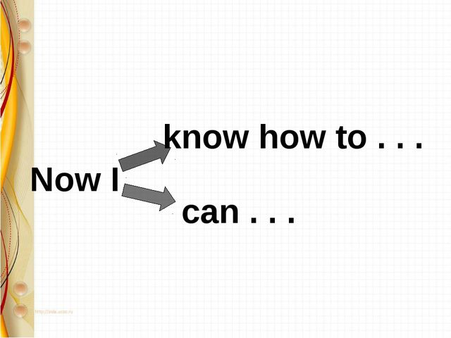 know how to . . . can . . . Now I