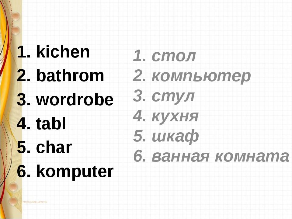 1. kichen 2. bathrom 3. wordrobe 4. tabl 5. char 6. komputer 1. стол 2. комп...
