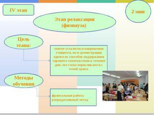 IV этап Этап релаксации (физпауза) 2 мин снятие усталости и напряжения учащих