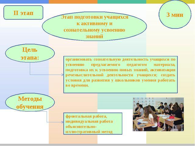 II этап Этап подготовки учащихся к активному и сознательному усвоению знаний...