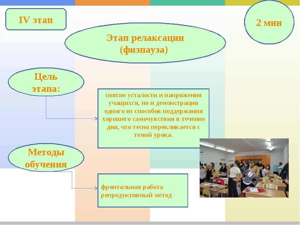 IV этап Этап релаксации (физпауза) 2 мин снятие усталости и напряжения учащих...
