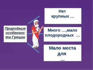 Природные особенности Греции Нет крупных … Мало места для … Много …,мало плод