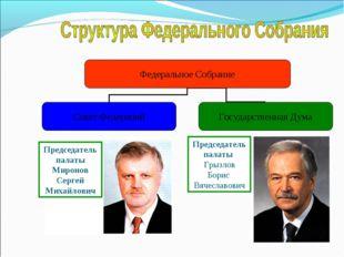 Председатель палаты Грызлов Борис Вячеславович Председатель палаты Миронов Се