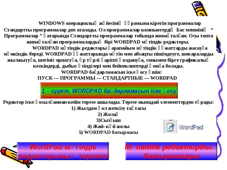 WINDOWS операциялық жүйесінің құрамына кіретін программалар Стандартты прогр...