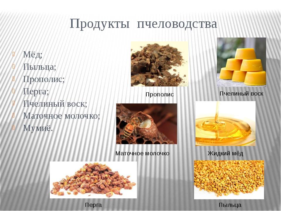 Продукты пчеловодства Мёд; Пыльца; Прополис; Перга; Пчелиный воск; Маточное м...