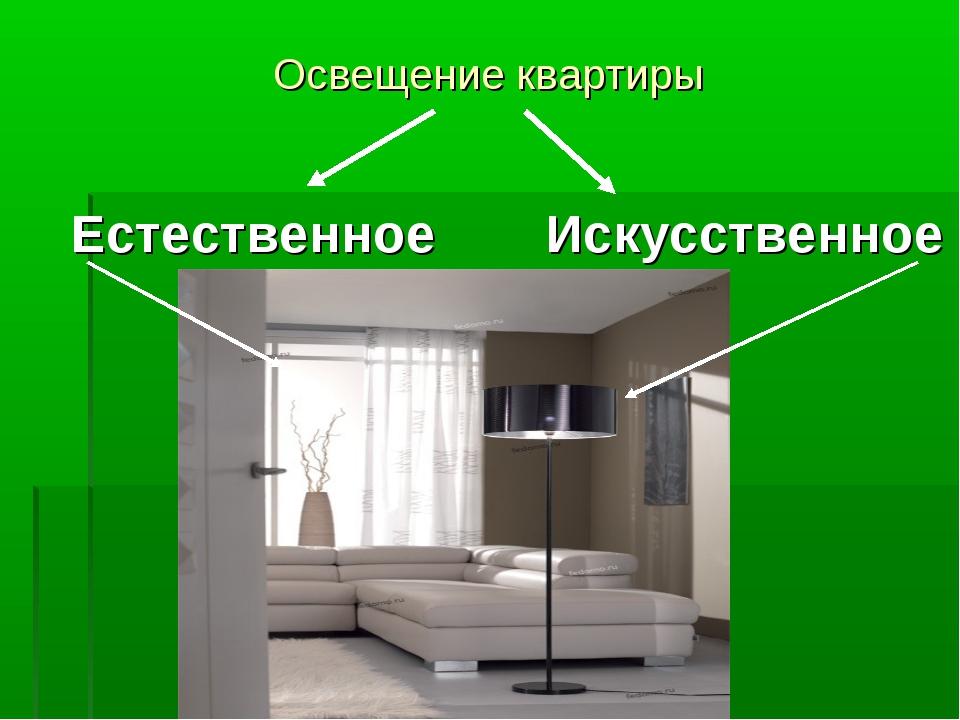 Освещение квартиры Естественное Искусственное