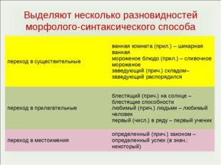 Выделяют несколько разновидностей морфолого-синтаксического способа переход в