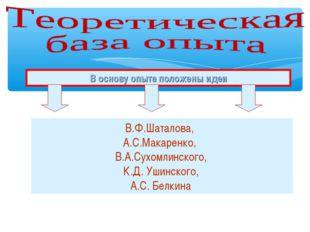 В основу опыта положены идеи В.Ф.Шаталова, А.С.Макаренко, В.А.Сухомлинского,