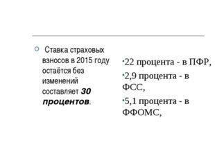 Ставка страховых взносов в 2015 году остаётся без изменений составляет 30 пр