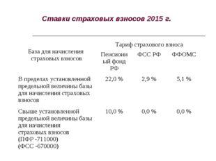 Ставки страховых взносов 2015 г. База для начисления страховых взносовТариф