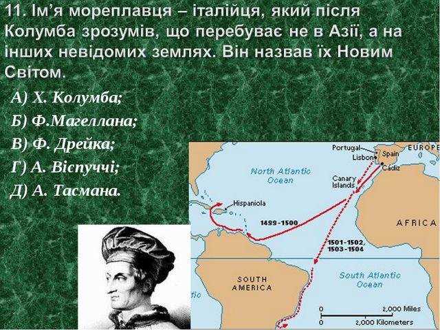А) Х. Колумба; Б) Ф.Магеллана; В) Ф. Дрейка; Г) А. Віспуччі; Д) А. Тасмана.