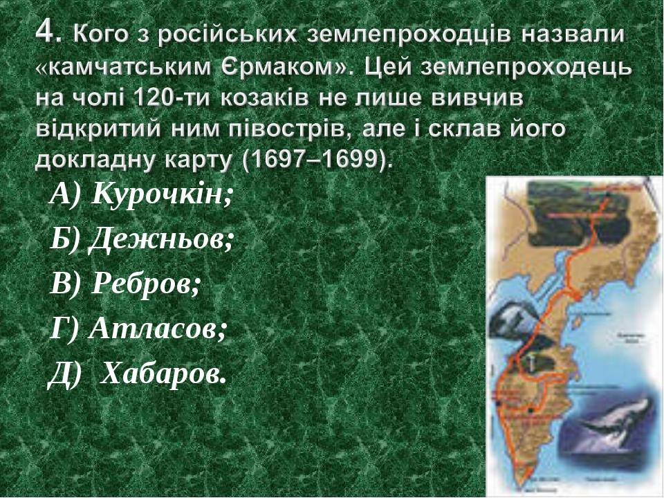 А) Курочкін; Б) Дежньов; В) Ребров; Г) Атласов; Д) Хабаров.