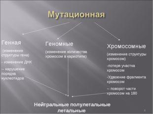 * Генная (изменение структуры гена) изменение ДНК - нарушение порядка нуклеот