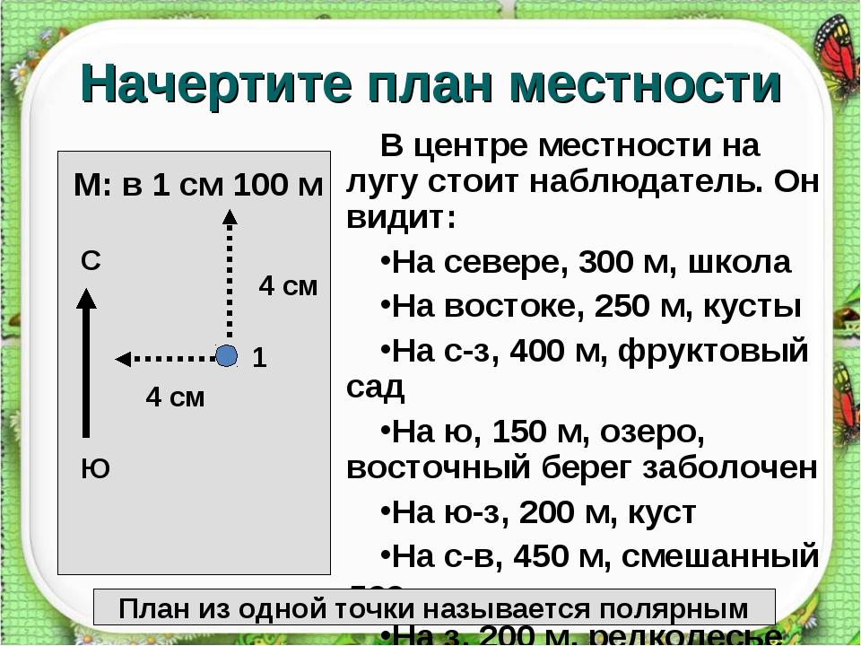 http://aida.ucoz.ru Начертите план местности В центре местности на лугу стоит...