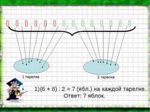 Ố Ố Ố Ố Ố Ố Ố Ố Ố Ố Ố Ố Ố Ố (6 + 8) : 2 = 7 (ябл.) на каждой тарелке. Ответ: