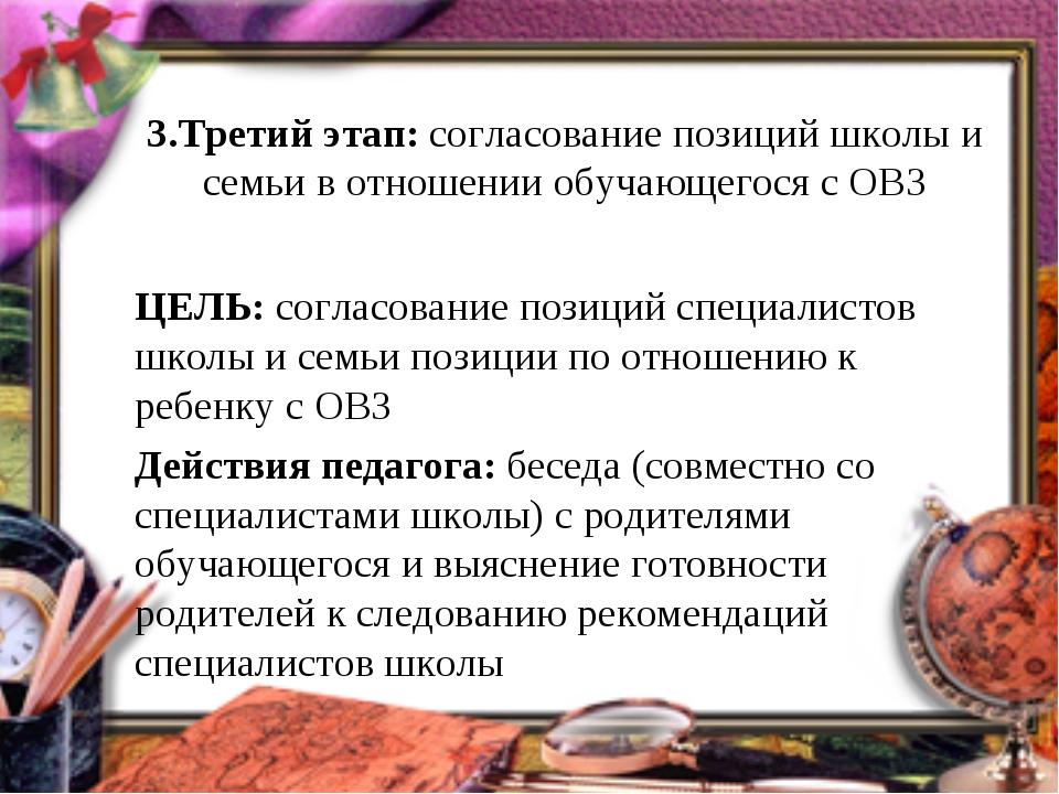 3.Третий этап: согласование позиций школы и семьи в отношении обучающегося с...