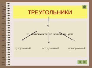ТРЕУГОЛЬНИКИ В зависимости от величины угла тупоугольный остроугольный прямоу
