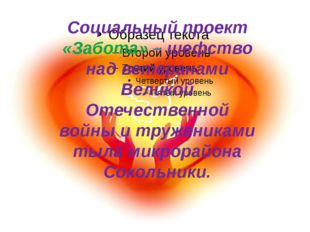 Социальный проект «Забота» – шефство над ветеранами Великой Отечественной вой