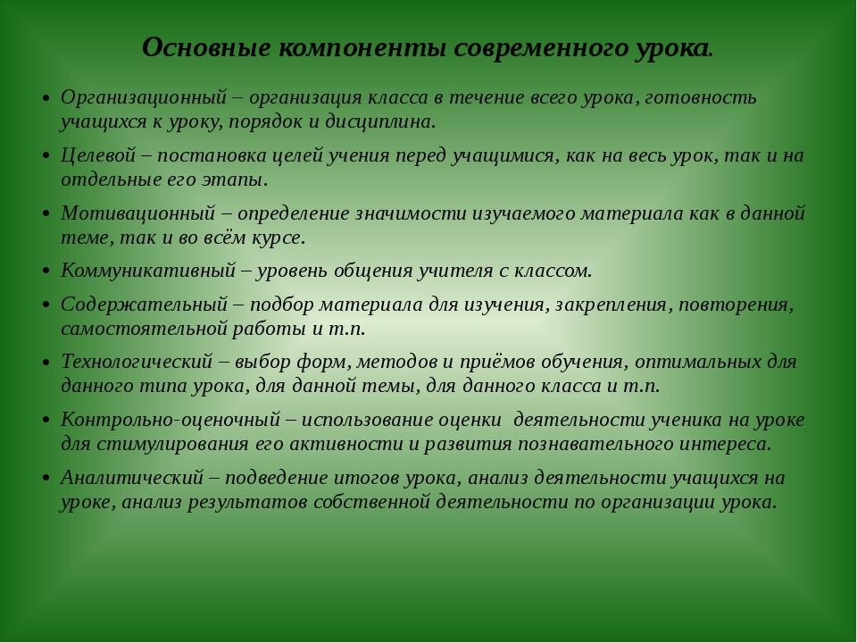 Основные компоненты современного урока. Организационный – организация класса...