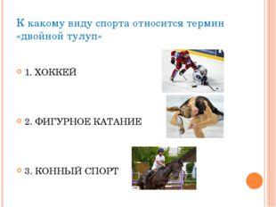 К какому виду спорта относится термин «двойной тулуп» 1. ХОККЕЙ 2. ФИГУРНОЕ К