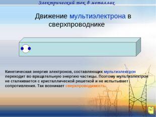 Движение мультиэлектрона в сверхпроводнике Кинетическая энергия электронов, с