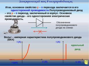 Вольт – амперная характеристика полупроводникового диода (ВАХ) Итак, основное