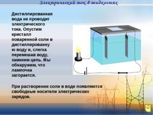Дистиллированная вода не проводит электрического тока. Опустим кристалл повар