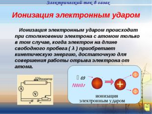 Ионизация электронным ударом Ионизация электронным ударом происходит при стол