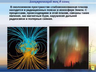 В околоземном пространстве слабоионизованная плазма находится в радиационных
