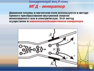 МГД - генератор Движение плазмы в магнитном поле используется в методе прямог