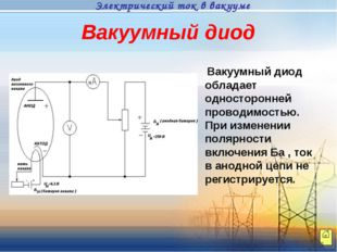 Вакуумный диод Вакуумный диод обладает односторонней проводимостью. При измен