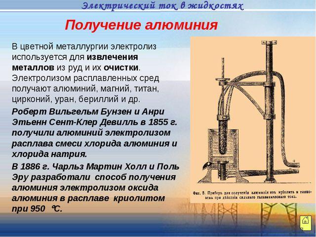 Получение алюминия В цветной металлургии электролиз используется для извлечен...