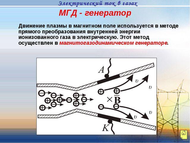 МГД - генератор Движение плазмы в магнитном поле используется в методе прямог...