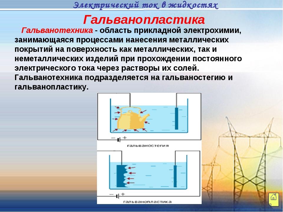 Гальванотехника - область прикладной электрохимии, занимающаяся процессами н...