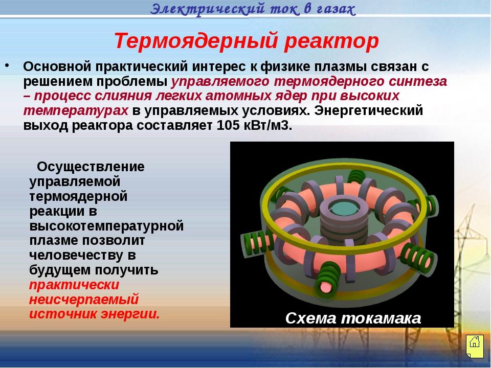 Термоядерный реактор Основной практический интерес к физике плазмы связан с р...