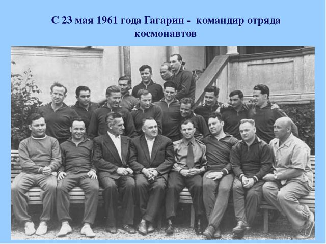 С 23 мая 1961 года Гагарин - командир отряда космонавтов