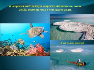 В морской воде живут морские обитатели, но не везде, потому что в ней много с