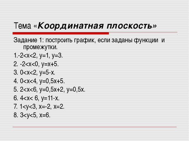 Тема «Координатная плоскость» Задание 1: построить график, если заданы функци...