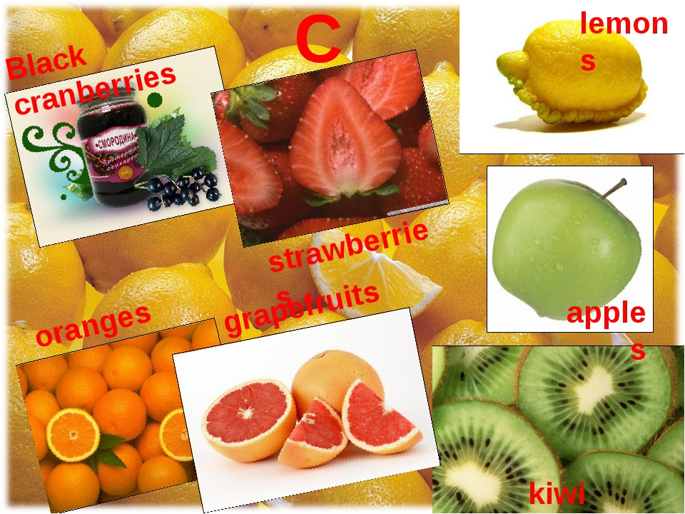 C Black cranberries strawberries lemons apples kiwi oranges grapefruits