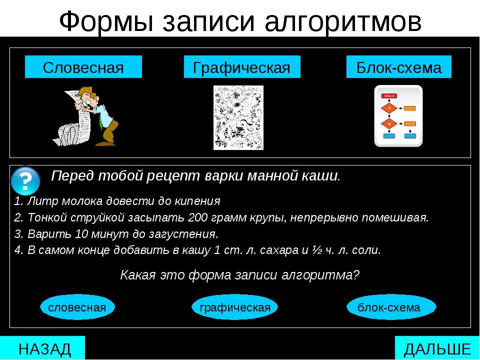 Формы записи алгоритмов  Блок-схема Графическая Словесная Перед тобой рецеп...