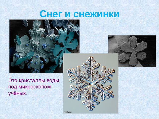 Снег и снежинки Это кристаллы воды под микроскопом учёных.