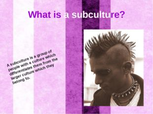 What is a subculture? A subculture is a group of people with a culture which