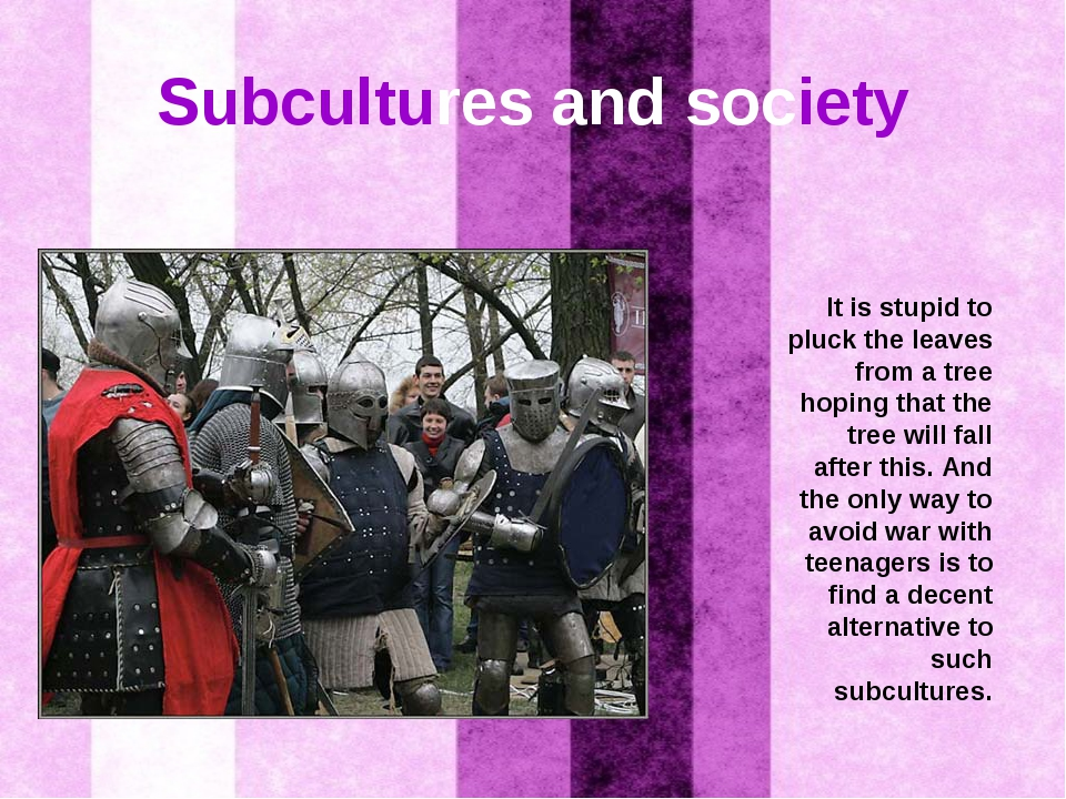 Subcultures and society It is stupid to pluck the leaves from a tree hoping t...