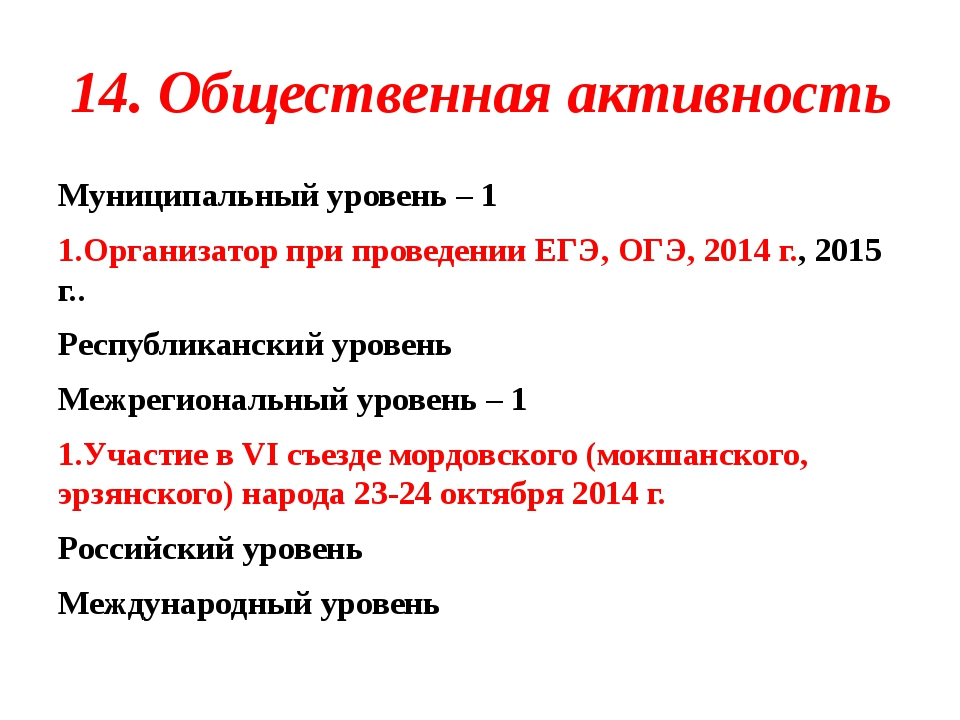14. Общественная активность Муниципальный уровень – 1 1.Организатор при прове...