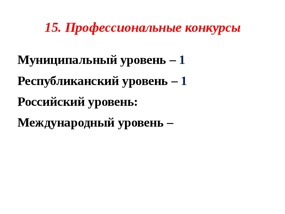 15. Профессиональные конкурсы Муниципальный уровень – 1 Республиканский урове...