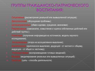 Ситуативные (рассмотрение реальной или вымышленной ситуации); Дискуссионные (