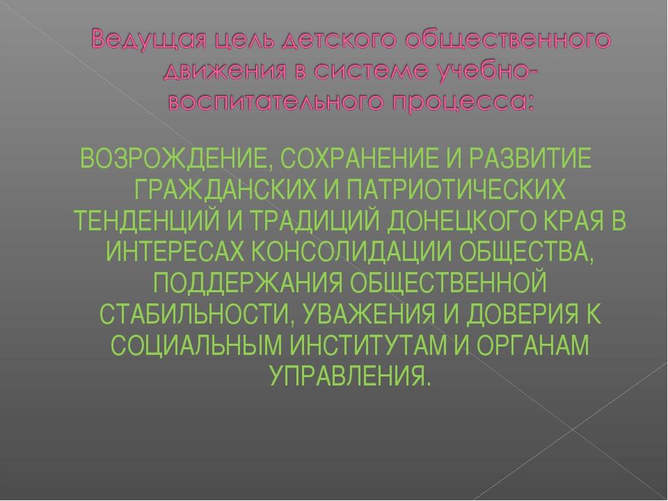 ВОЗРОЖДЕНИЕ, СОХРАНЕНИЕ И РАЗВИТИЕ ГРАЖДАНСКИХ И ПАТРИОТИЧЕСКИХ ТЕНДЕНЦИЙ И Т...