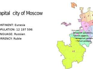 Capital city of Moscow CONTINENT: Eurasia POPULATION: 12 197 596 LANGUAGE: Ru
