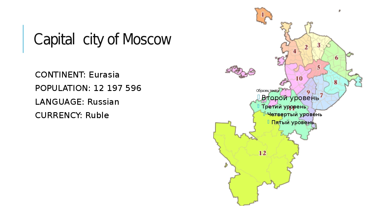Capital city of Moscow CONTINENT: Eurasia POPULATION: 12 197 596 LANGUAGE: Ru...