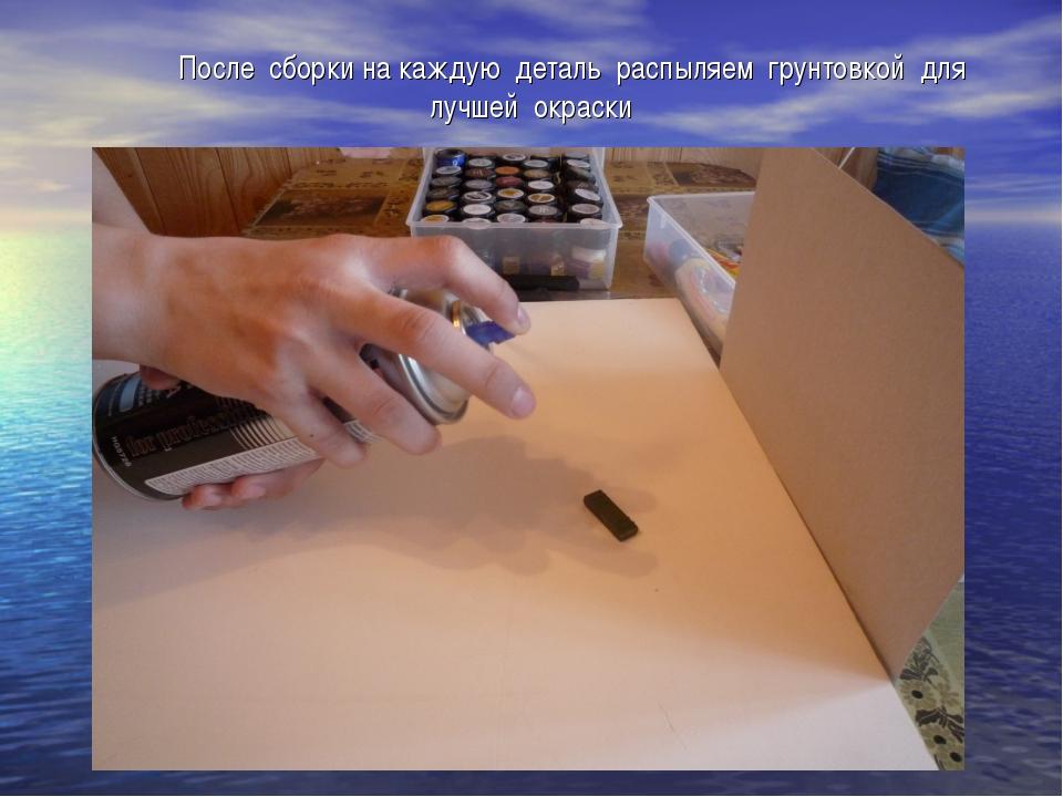 После сборки на каждую деталь распыляем грунтовкой для лучшей окраски